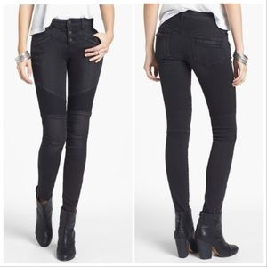 FREE PEOPLE Millenium Moto Jeans In Moonlight